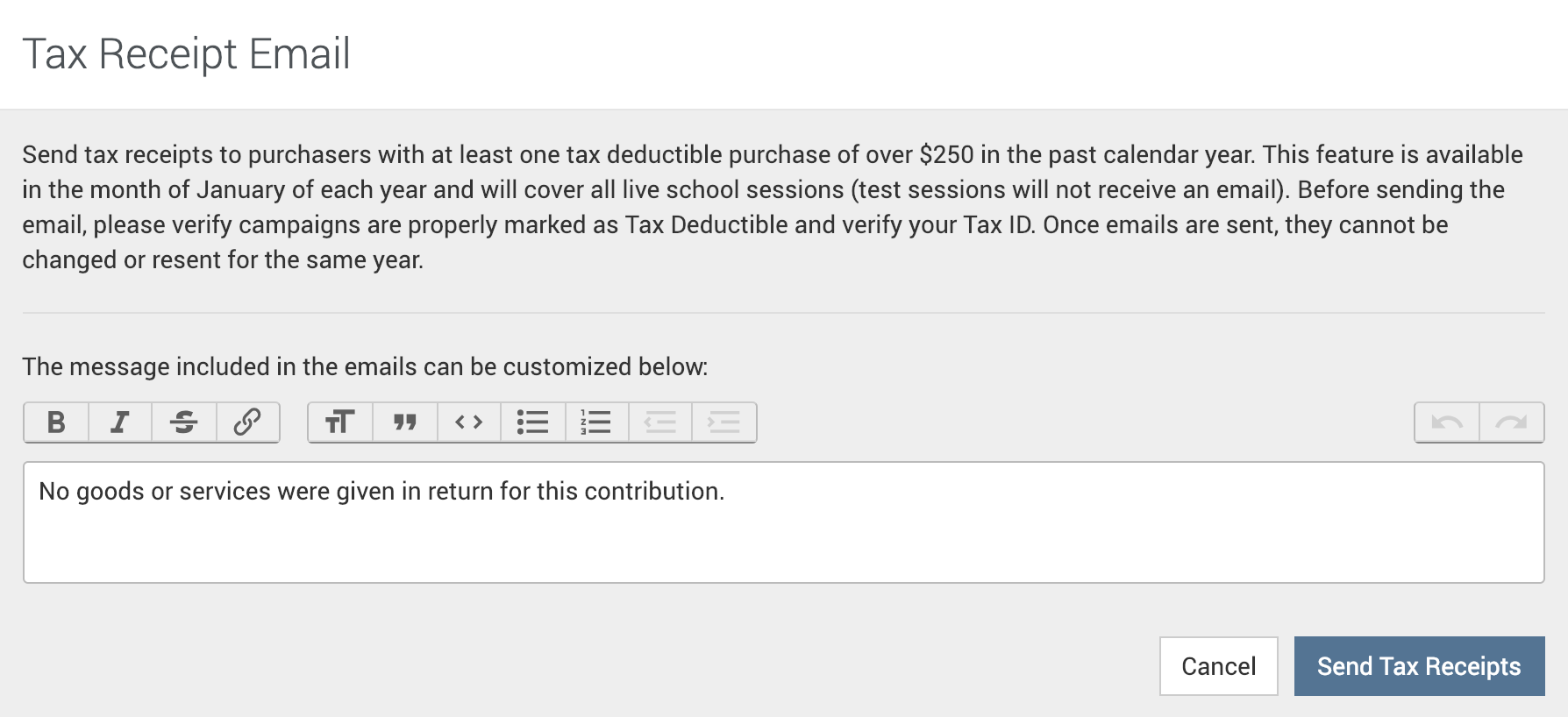 Tax Receipt Form